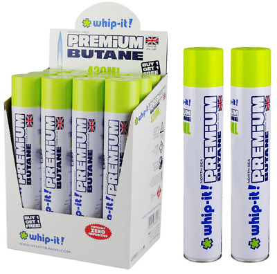 Whip-It Butane - 12 Cans 420ML  North Sea Whip It Torch Lighter Fluid Refill WOW