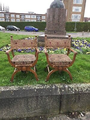 WOW extremely Quirky antique oak x framed masonic type throne chair armchair red
