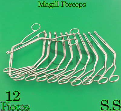 """12 Magill Forceps EMT Anesthesia Surgical Instruments 10"""""""
