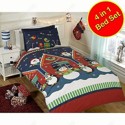 Santa's Grotto 4 In 1 Xmas Toddler Bed Bedding Bundle Duvet Pillow & Covers