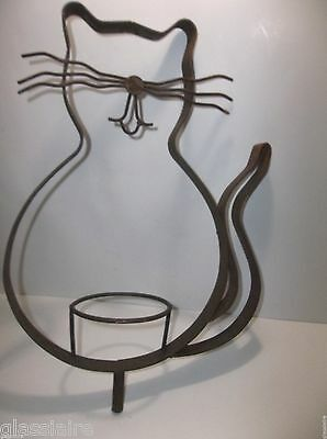 Vintage Wrought Iron CAT Candle Holder BIRD FEEDER Rusty SHABBY 17.75""