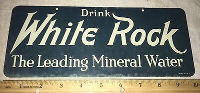 Antique Drink White Rock Mineral Water Vintage Tin Litho Sign Bar Grocery Soda