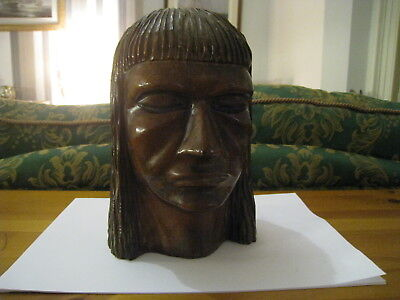 Vintage Carved Hardwood Figure Of Native American Heavy And Sturdy