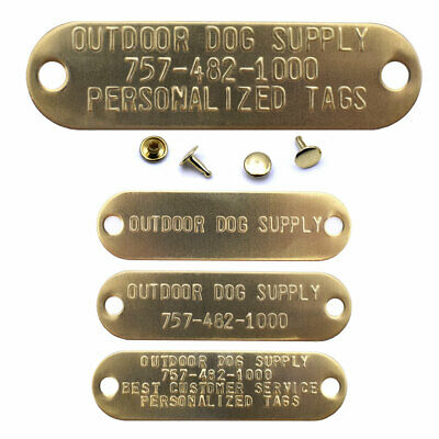 Custom Brass Metal Engraved Stamped Name Plate Tag with Rivets for Dog Collars