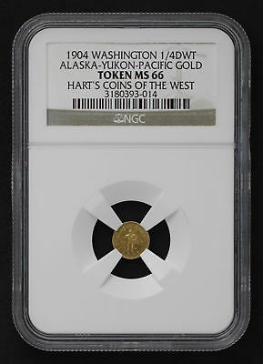 1904 1/4 DWT Alaska-Yukon-Pacific Gold Hart's Coins of the West NGC MS-66 -99921