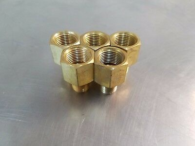 "(5pc.) Pipe Adapter Brass 3/8"" Female NPT to 1/4"" Male NPT Water Oil Gas Air"