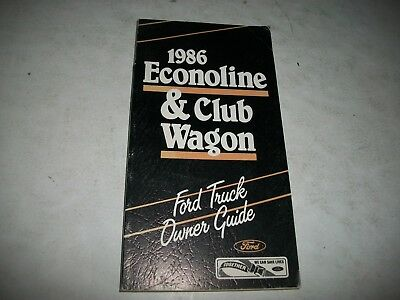 Nos Original 1986 Ford Truck Econoline & Club Wagon Owner Guide Manual