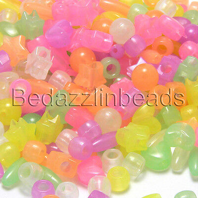 Lot of 300 Assorted Color & Shaped Glow in The Dark Plastic Novelty & Pony Beads