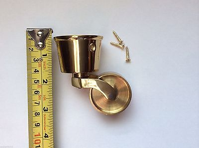 Castor Solid Brass Round Sockett Cup Type 38 mm diamterVictorian Edwardian