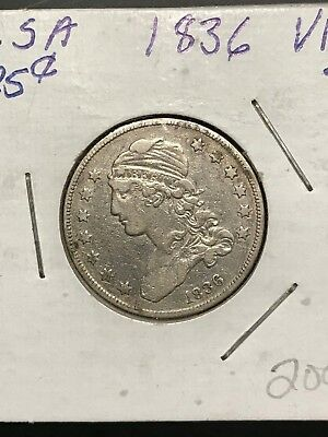1836 Capped Bust Silver Quarter Dollar Piece 25 Cent Face Value, See Other Coins