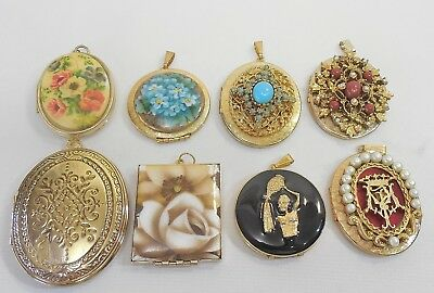 Vintage Lot Of { 8 } Large Lockets Gold Tone. Enamel, Cameo's, Beaded, Floral