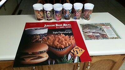 Jurassic Park 1993 McDonald's Promo Display Lot With Cups RARE
