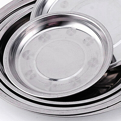 Practical Stainless Steel Tableware Round Dinner Plate Food Container 16-28CM