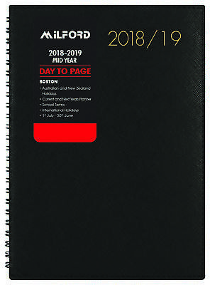 Diary 2018/19 Financial Year Milford Boston Wiro A5 Day to Page Black 441344