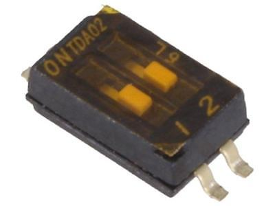 TDA02H0SB1 Switch DIP-SWITCH Poles number 2 OFF-ON 0.025A/24VDC 100MΩ
