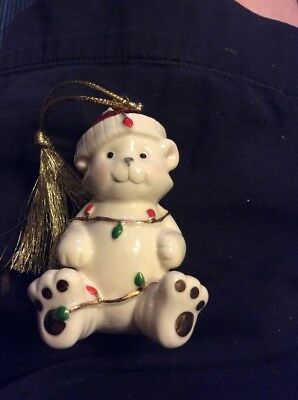 Lenox Very Merry Porcelain 24K Gold Accents Christmas Bear Ornament *new*