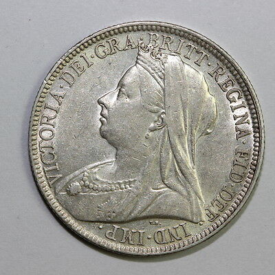 UK GB GREAT BRITAIN FLORIN 1900 SILVER (Dan16SF49)