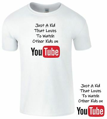 Just a Kid That Loves To Watch Other Kids On Youtube T Shirt Boys Girls Gamer