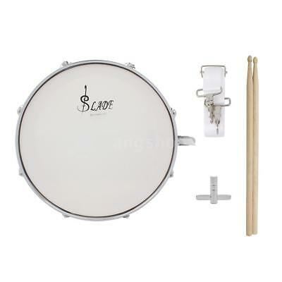 Professional Snare Drum Head 14 Inch with Drumstick Drum Key Strap Silver O2F5