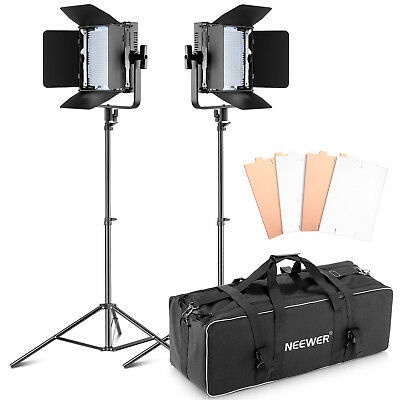 Neewer Double Dimmable 600 LED Barndoor Continuous Lighting Video Panel Kit