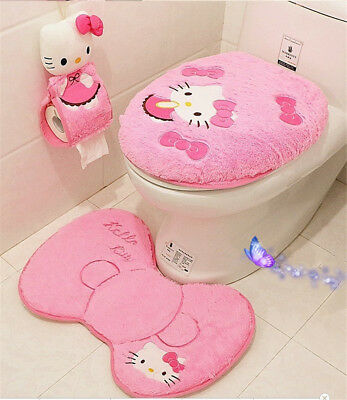New Toilet Set Hello Kitty Bathroom Mats Seat Covers Soft Rings Free Shipping