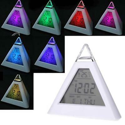 LCD Digital Pyramid Alarm Clock Desk Bed Thermometer Light 7 LED Color Changing