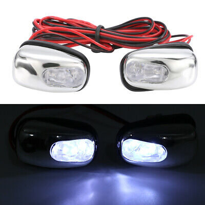 2X CHROME LED NEON LIGHT FRONT WINDSCREEN WASHER JETS NOZZLE SPRAY WATER White