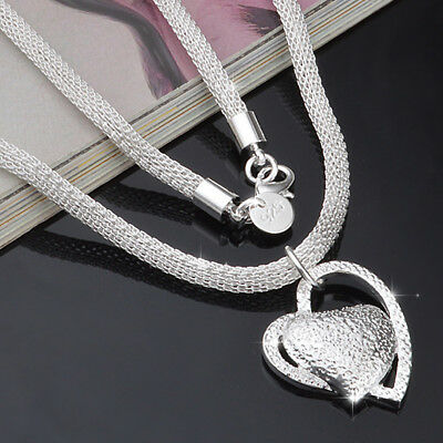 Fashion 925 Silver Double Heart Pendant Necklace Chain Women Jewellery