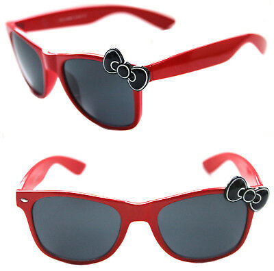 b2195f6b3277 Women's Hello Kitty Sunglasses Horn Rimmed Red Frame with Black Bow Retro