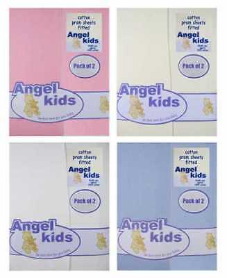 Baby 100% Cotton Fitted Pram Sheet / Crib jersey fitted Sheets by Angel Kids 2pp