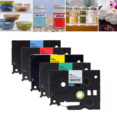 5 PK Color TZ 231 431 531 631 731 Label Tape Compatible for Brother P-touch 12mm