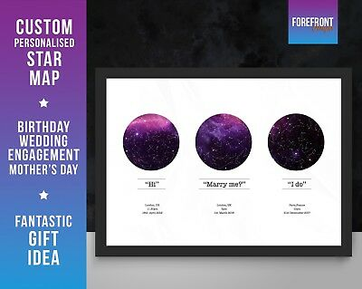 Birthday Star Map.Personalised 3 Date Star Constellation Map Print Engagement