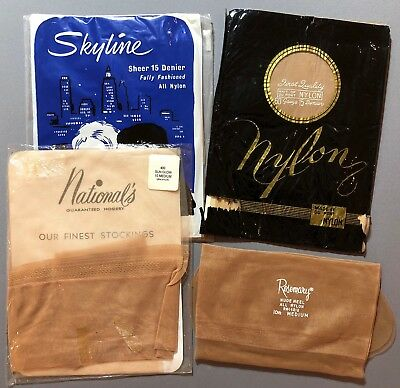 VINTAGE STOCKINGS, SEAMED, Seamless Nylons, Flat Knit, 4 pair Size 10-10 1/2 NOS
