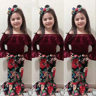 3PCS Toddler Kids Baby Girls Clothes T-shirt Tops+Floral Pants Dress Outfits Set