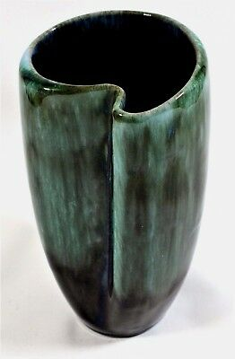 EARLY BLUE MOUNTAIN POTTERY OF CANADA comma shaped vase GREEN/BLUE/BLACK GLAZE