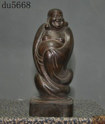 Chinese Buddhism temple Old Wood Hand carved Happy laugh Maitreya Buddha statue