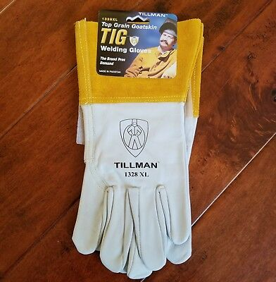 "New Tillman 1328 XL Top Grain Goatskin TIG Welding Gloves Extra Large 4"" Cuff"