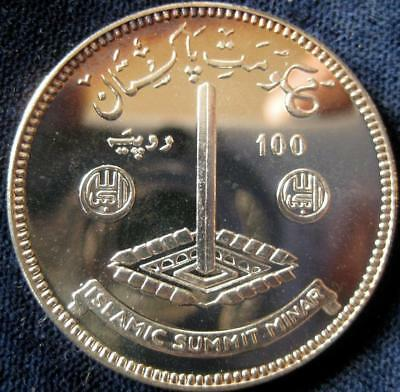 Pakistan 1977 100 Rupees Islamic Summit Conference Silver Proof