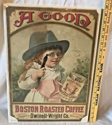 Antique Dwindell Wright Coffee Sign Poster Victorian Girl Excelsior Tin Boston