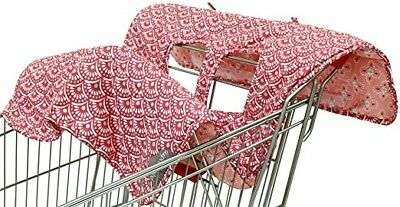 Extra-Large Easy-to-Use Coral Scallop Shopping Cart and High Chair Cover