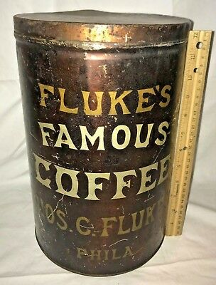 Antique Flukes Famous Coffee Early Tin Litho Can Philadelphia Pa Country Store