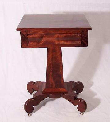 Antique bedside period American Federal mahogany night lamp work Stand c1825