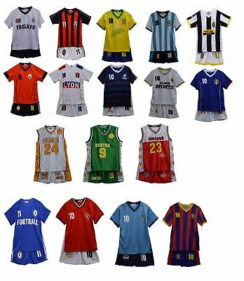 Kid Boys Girls Football Kit Short Top Pyjama England Manchester Chelsea 2-13 Y