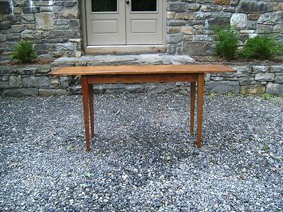 Country pine sofa table or server single hand hewed board top 18th c wide board