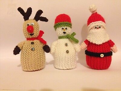Christmas Trio Egg Cosy Knitting Pattern New Santa Rudolf And A