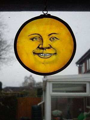 Interesting Stained Glass Laughing Moon Sun Medieval Victorian Decorative Item