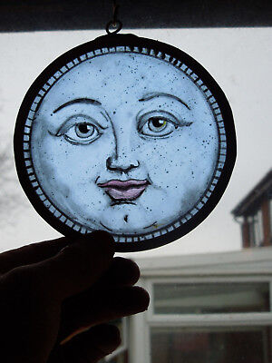 Interesting Stained Glass Blue Moon Medieval Victorian Decorative Interior