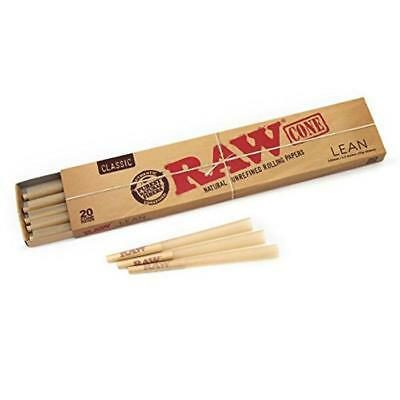 RAW Classic LEAN Pre Rolled Cones - Box 12 PACKS - Roll Papers 20 Cones Per Pack