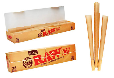 RAW Classic King Size Pre Rolled Cones - Box 12 PACKS - Roll Paper 32 Cones Pack