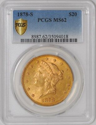 1878-S $20 Gold Liberty MS62 Secure Plus PCGS